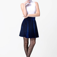 Blue Velvet Flare Mini Skirt