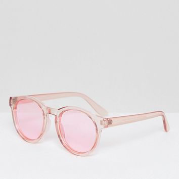 AJ Morgan Round Sunglasses with Tinted Pink Lens at asos.com