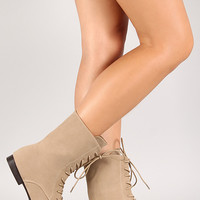 Jojo-3 Lace Up Round Toe Mid Calf Boot
