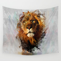 Water Color Splash Lion Wall Tapestry by Naturessol