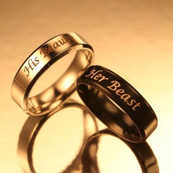 Couple Rings His Beauty Her Beast Stainless Steel Promise Rings