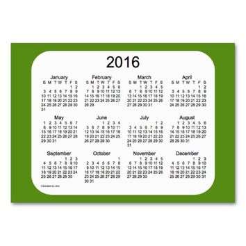 2016 Olive Drab Calendar by Janz Client Card Large Business Cards (Pack Of 100)
