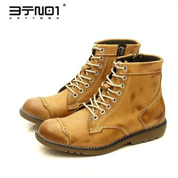 Classical Retro Mens Martin Boots Genuine Leather Lace Up Ankle Boots Round Toe Zip Work Safety Boots Man Winter Shoes