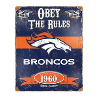 Denver Broncos NFL Vintage Metal Sign (11.5in x 14.5in)