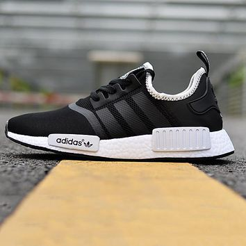 Adidas NMD Black+White Knit Edge Soles Sneakers Women Fashion Trending Running Sports Shoes