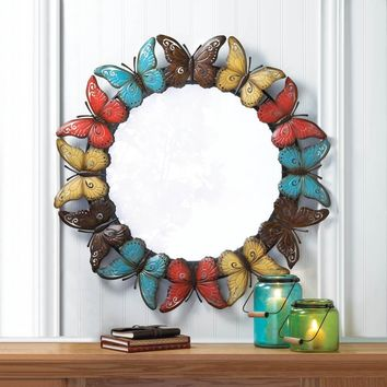 Colorful Country Iron Butterflies Wall Mirror | SAVE $70!