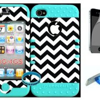 Bumper Case for Apple iphone 4 4G 4S Dark Blue Chevron Waves Pattern Hard Plastic Snap on over Baby Teal Silicone Gel(Wireless fones Wristband,Screenprotector,and Media Display Kickstand included)
