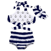 3Pcs/Set! Summer Baby Girl Clothes Anchor Cotton Tank TOB +Striped Briefs Outfits +Headband  Set Sunsuit