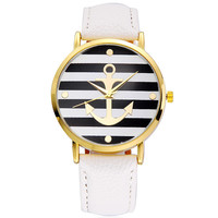 Women Fashion Anchor Watch Leather Strap Jewelry Wristwatch Style
