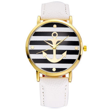 Nautical Stripe & Boat Anchor Faux Leather Watch