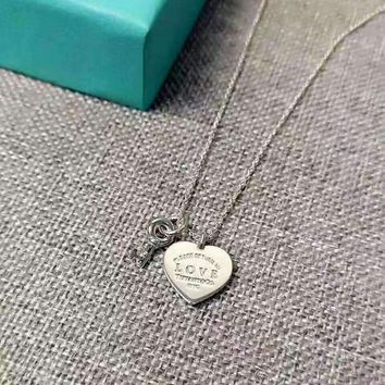 Tiffany Fashion 925 Sterling Silver Heart Lock Key Necklace
