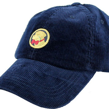 Corduroy Frat Hat in Navy with Yellow Lab by Southern Proper