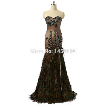 Real Sample Sexy Sweetheart Side Split Peacock Feather Heavy Beaded Vestidos Mermaid Prom Dresses 2017 New Arrival DB21502