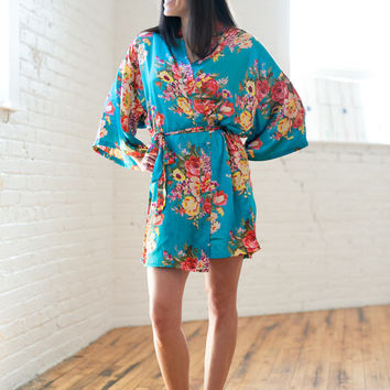 Satin Floral Robe, Bridesmaid Robe,Wedding Robe, Bridal Robe,Bridal Party Robe,Satin Robe,Maternity Robe, Floral Robe, Hospital Robe, Robe