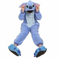 Amour - Sleepsuit Pajamas Costume Cosplay Homewear Lounge Wear (M, Blue Stitch)