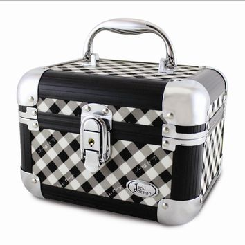 Black Retro Plaid Train Case - Perfect Gift