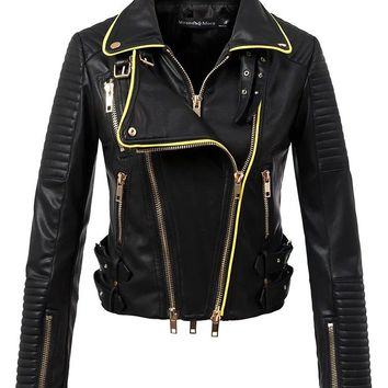 Women Motorcyle & Biker Faux Leather Jackets and Coats Lady Slim Fit Turn-down Collar