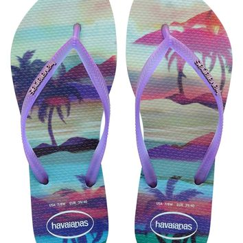 Havaianas Slim Paisage in Ice Blue- Size 6