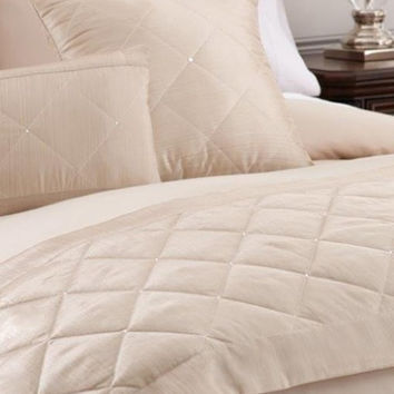 Bed Scarf with 2 Deco Pillows with Swarovski Crystals (Ivory)
