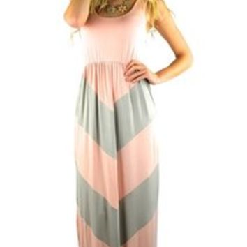 Gray Light Pink Small Chevron Maxi Sleeveless Tank Long Boutique Style Maxi Dress By Independent Clothing Co. 46% off retail