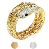 Rhinestone Curved Stretch Snake Cuff Bangle Bracelet multi strand Snake Bracelet