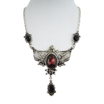 Restyle Wild Roses Gothic Victorian Evening Statement Necklace Roses & Wine Stone