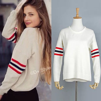 Winter Vintage 3-color Stripes Casual Pullover Knit Tops Sweater [8173589319]