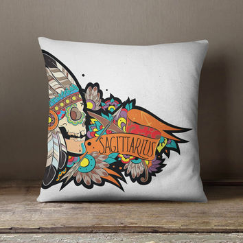 Sagittarius Sugar Skull Pillows, Dia del los Muertos Astrology Pillow, December Birth Month, Sagittarius