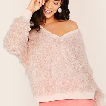 Pastel Pink Faux Fur Feathered Effect Pullover Sweater