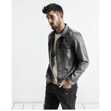 Men's  Roughed Grey Denim Jacket