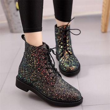 GLITTER LACE UP BOOTS