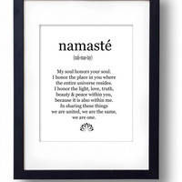 Namaste print Large 3 sizes Yoga studio decor Inspirational printable Black white typography art poster Minimalist artwork INSTANT DOWNLOAD