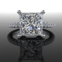 Forever Brilliant Princess Moissanite and Diamond Engagement Ring 3.23 CTW