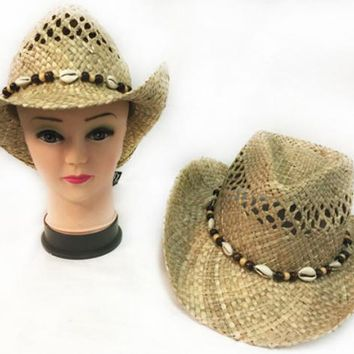 natural straw cowboy hat with sea shell band Case of 12