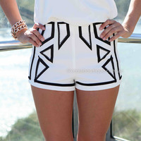 MIXED TONE SHORTS , DRESSES, TOPS, BOTTOMS, JACKETS & JUMPERS, ACCESSORIES, 50% OFF SALE, PRE ORDER, NEW ARRIVALS, PLAYSUIT, COLOUR, GIFT VOUCHER,,SHORTS,White,Print Australia, Queensland, Brisbane