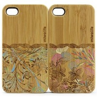 Miwolife (TM) Handmade Natural Bamboo Wood Case Cover for Apple iPhone4/4s with Love Flower from Flora and Couple Design for Love Gift-2 Cases Pack Lover Gift