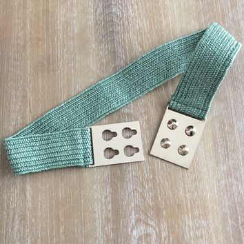 Woven Stretch Belt with Metal Plate