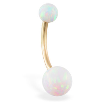 14K Solid Gold Gorgeous White Opal Belly Ring, Gold Navel Ring, White, Rose, or Yellow Gold