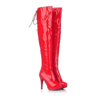 Patent Leather Thin Heels Women Over The Knee Boots