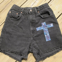 High Waisted Galaxy Cross Shorts Size 3/4 by DenimAndStuds on Etsy