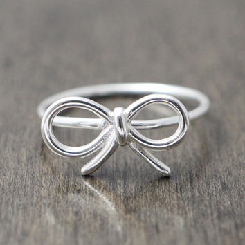 925 sterling silver ribbon / bow ring - promise / friendship / bridesmaid ring