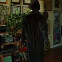 MINK FUR COAT Hat Sable Mahogany Full Length
