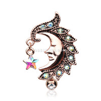 Rose Gold Sparkle Star Crescent Moon Reverse Belly Button Ring (Aqua/Aurora Borealis)