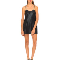 Motel Swallow Tail Slip Dress in Crackle Black