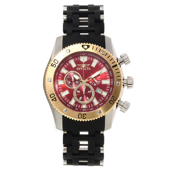 Invicta 13855 Men's Sea Spider Red Dial Rubber & Steel Bracelet Chronograph Watch