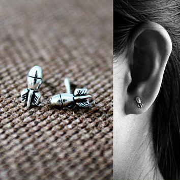 Sterling Silver Missile Stud Earrings - Oxidized Post Earrings - Playful Earrings - Tiny Stud Earrings - dynamite earrings - Bomb earrings
