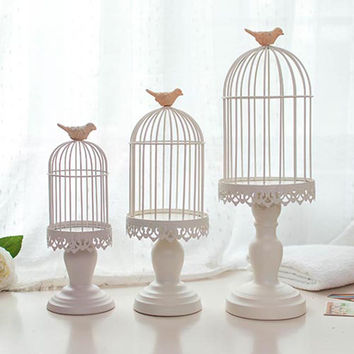 Decorative Cage Metal w/Bird Lantern Candle Holder