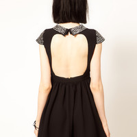 Sister Jane Stud Collar Skater Dress at asos.com