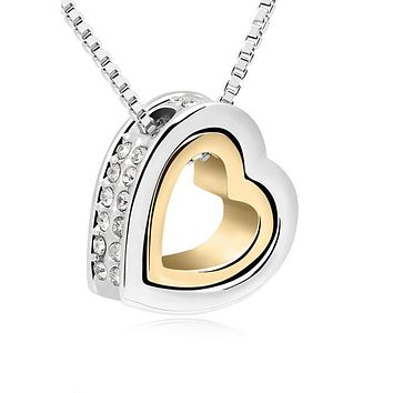 Gold-Color Austrian Crystal Luxury Brand Heart Necklaces