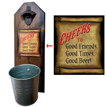Cheers to Good Friends Bottle Opener and Cap Catcher, Wall Mounted